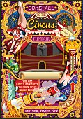 Circus carnival tent marquee amusement family theme park poster acrobat artist show invite set. Creative design vector illustration collection