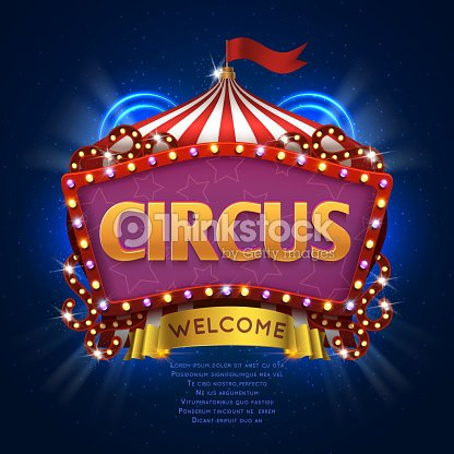 Circus Carnival Vector Sign With Light Bulb Frame Vector Art ...