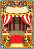 Circus cartoon poster theme. Vintage frame with circus tent for kids birthday party invitation or post. Quality template vector illustration.
