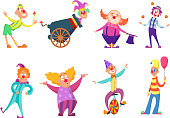 Circus characters. Funny clowns in action poses. Circus clown in costume, vector character comedian illustration
