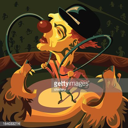 Circus Clown Taming Two Lions : Vector Art