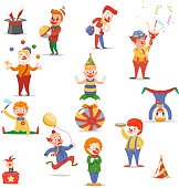 Circus Clowns Cute Funny Different Positions Actions Character Icons Set Retro Cartoon Design Vector Illustration