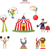 Circus concept. Stunning performances, clowns, jugglers, strongman, athletes and gymnasts acrobats, magician and animal trainer animals, in traditional building. Colorful flat illustration.
