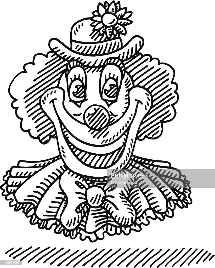 circus happy clown face drawing vector art getty images