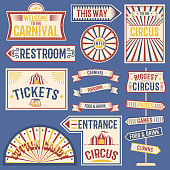 Circus labels carnival show banner vintage label elements for circus design on the party theme. Collection of symbols old-style fashioned festive party emblems and s fun tag graphic illustration.
