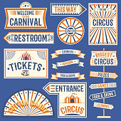 Circus labels carnival show banner vintage label elements for circus design on the party theme. Collection of symbols old-style fashioned festive party emblems and logos fun tag graphic illustration.