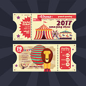 Circus magic show ticket vector vintage design isolated. Ticket to show circus, performance and amusement illustration