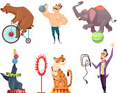 Circus mascots. Clouns, performers, juggler and other characters of circus. Strongman performance, elephant and bear. Vector illustration