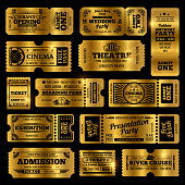 Circus, party and cinema vector vintage admission tickets templates. Golden tickets isolated on black background. Ticket of collection in vintage style, admission to theate and exhibition illustration