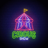 Circus Show neon sign, bright signboard, light banner. Circus logo neon, emblem. Vector illustration.