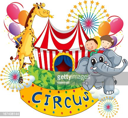 Circus show with kids and animals : Vector Art