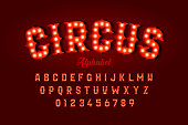 Circus style font design, alphabet letters and numbers vector illustration