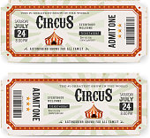 Illustration of two circus tickets, with big top, admit one coupon mention, bar code and text elements for arts festival events