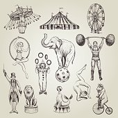 Circus vintage vector illustrations set. Hand drawn sketch of animals, attractions, circus actor characters.