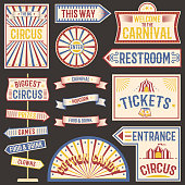 Set of circus labels carnival show. Elements for design on the party theme. Collection of symbols modern emblems and logos fun tag graphic vector illustration