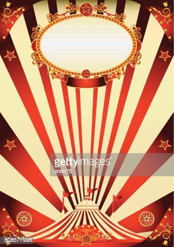 Zirkus vintage Rot und Creme-poster : Vektorgrafik