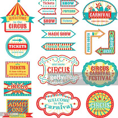 Circus vintage signboard labels banner vector illustration isolated on white entertaining banner sign : Vector Art