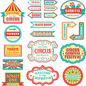 Circus vintage signboard labels banner vector illustration isolated on white entertaining banner sign . Collection of symbols modern emblems and logos fun tag graphic circus vector illustration