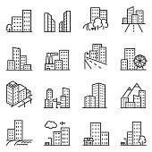Cities and city buildings, a set of icons in a linear design. Urban cityscape, office and apartment buildings. lines with editable stroke.