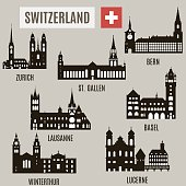 Cities in Switzerland. Silhouettes of famous buildings in Switzerland
