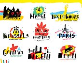 Cities of Europe illustrations. Illustration  handmade drawings on the theme of European cities painted in grunge style