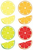 Orange, lemon, lime, blood orange slices isolated on white background