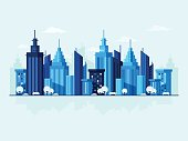 Modern city background with blue skyscrapers. Flat design style.