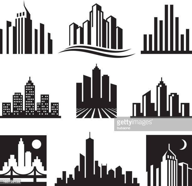 City Buildings Logo black & white vector icon set