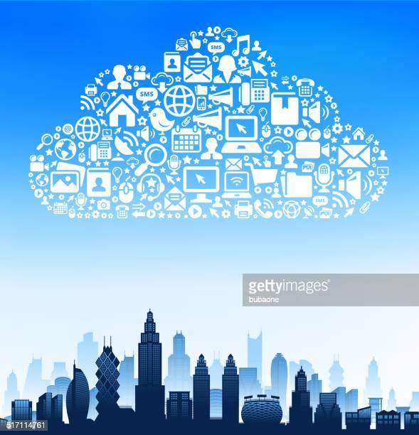 City Buildings on Modern Tech & Communication Cloud