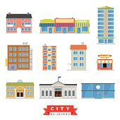 Collection of 10 flat design buildings typical of the city and urban area