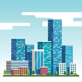 City downtown landscape with high skyscrapers piercing clouds in the sky. Flat style vector illustration.