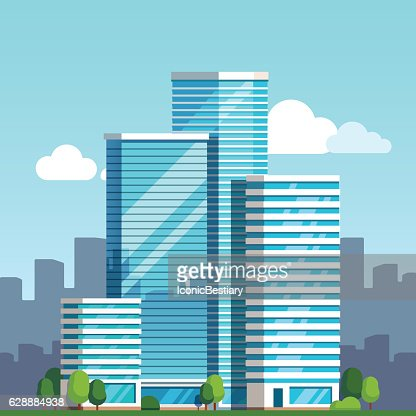 City downtown landscape with skyscrapers : stock vector
