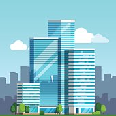 Scenic view of a city downtown landscape with high glass skyscrapers piercing blue sky clouds. Modern flat style vector illustration.
