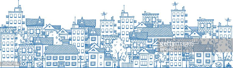Line Drawing City : Town vector art and graphics getty images