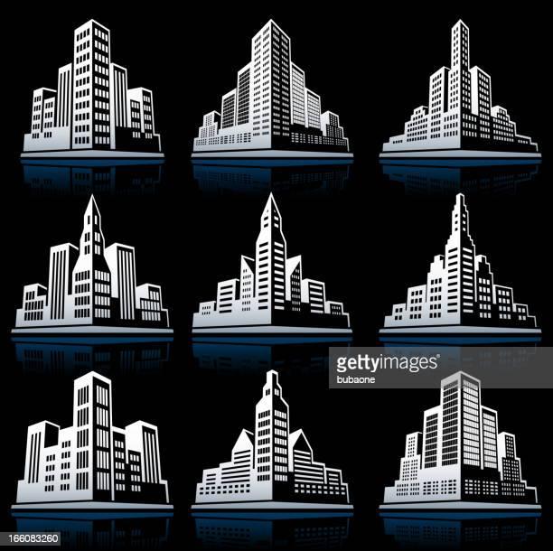 3D City Emblem black & white vector icon set