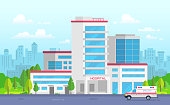 City hospital with ambulance - modern vector illustration. Medical center on urban background, nice park with trees. Blue sky with clouds. Clinic with first aid. Concept of healthcare and emergency