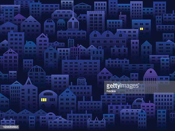 City in the night seamless background
