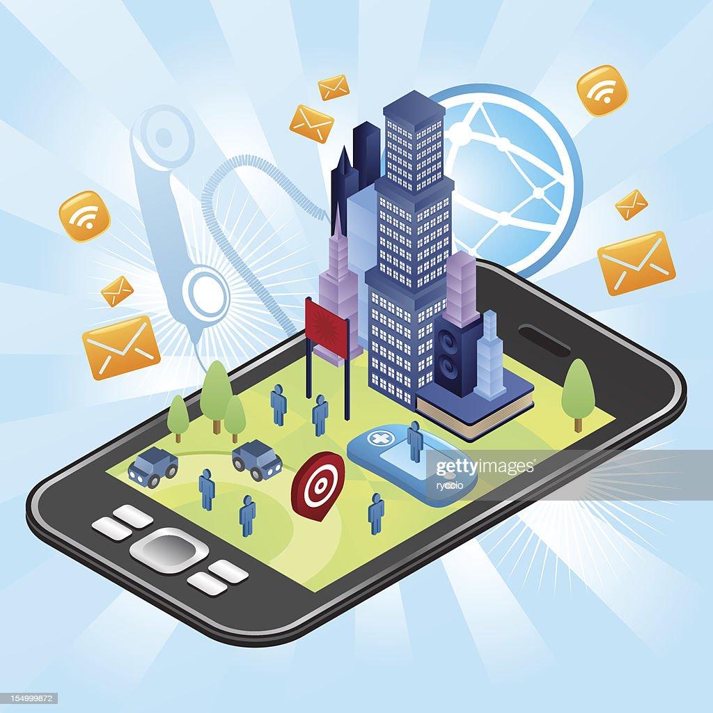 City in your smart phone : Vector Art