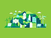 Vector illustration in simple minimal geometric flat style - city landscape with buildings, hills and trees with solar panels and wind turbines  - eco and green energy concept - abstract background fo