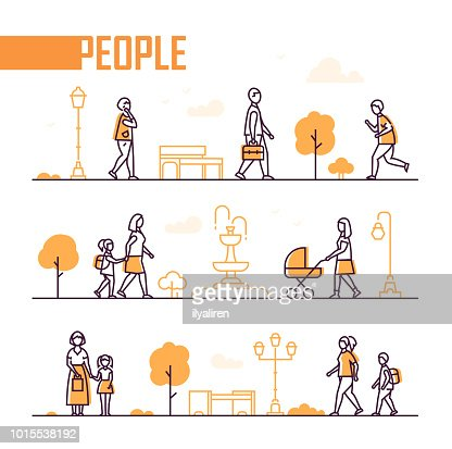 City life - set of line design style elements : Arte vettoriale