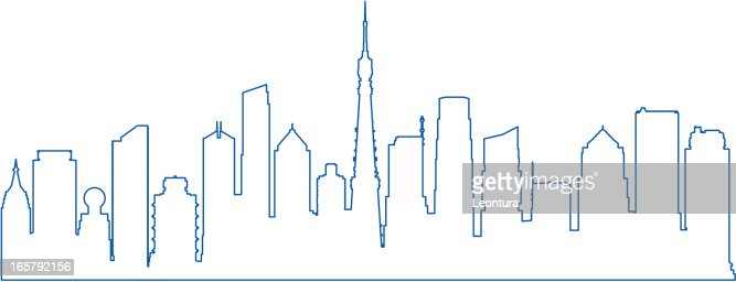 Line Drawing City : City line vector art getty images
