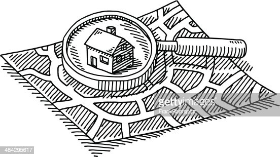 City Map Finding House Loupe Drawing Vector Art Getty Images
