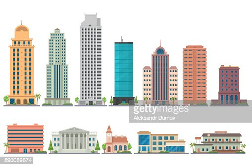City modern buildings flat illustration isolated on white background. City landscape with skyscrapers. Offices, school, bank, church, club, motel, apartments. Vector eps 10. : stock vector