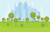Green city park and recreation zone with trees and bushes near business city center on background. Flat style cartoon vector illustration.