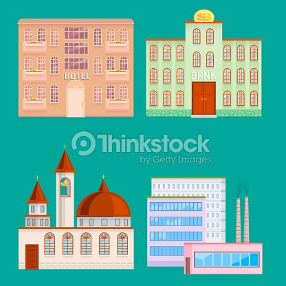 City public buildings houses flat design office architecture modern street apartment vector illustration
