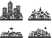 city. set of icons on white background. vector illustration