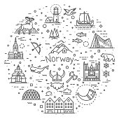 Flat travel elements. Alesund, Bergen and Oslo or Norwegian tourist famous culture attraction vector icons