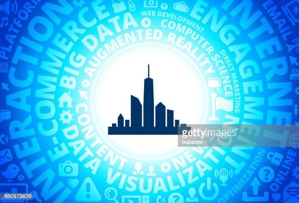 City Skyline Icon on Internet Modern Technology Words Background