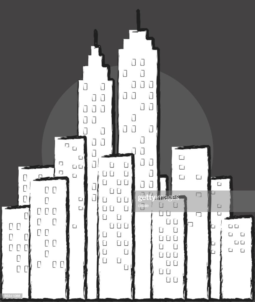 City Skyline In Lineart Drawing Vector Art Thinkstock