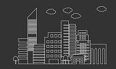 City skyline linear design. Cityscape line art vector. Outline skyscrapers.